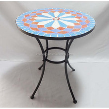 Mosaic Tile Metal Table, Round Folding Dining Table for Garden