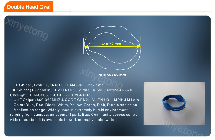 13.56MHZ Classic 1K Compatible Fudan Chip RFID Wristband Adjustable
