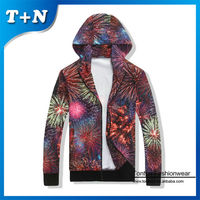 high quality fireworks pattern printed personalized zipper hoodie thin hoodies