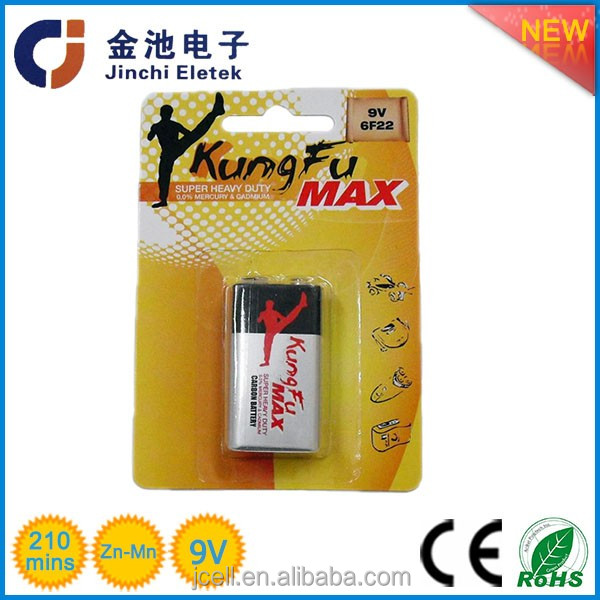 super heavy duty Carbon zinc 9v dry battery/6f22