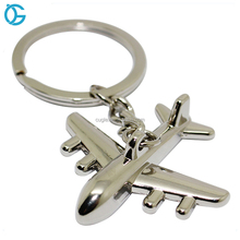 New arrived custom metal nickel plating 3d airplane shape keychain