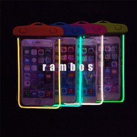 Universal Luminous Waterproof Pouch Dry Bag Glowing Diving Swimming Cases Cover for iPhone 6/ 6 Plus for galaxy note 4
