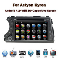 Wholesale Android 4.2 car audio for Ssanyong Actyon Kyron with Capacitive Touch screen GPS Bluetooth Radio RDS USB IPOD
