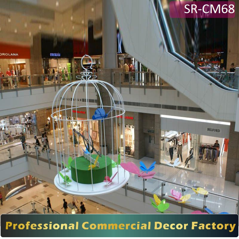 Customize commercial shopping center hotel atrium giant hanging birdcage decoration for seasonal decoration