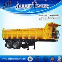 China supplier cylinder U shape 2 axles rear tipping truck trailer/twin axles dump semi trailer for sale