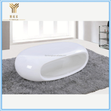 Small Modern White Fiberglass High Gloss Oval Glass Coffee Table