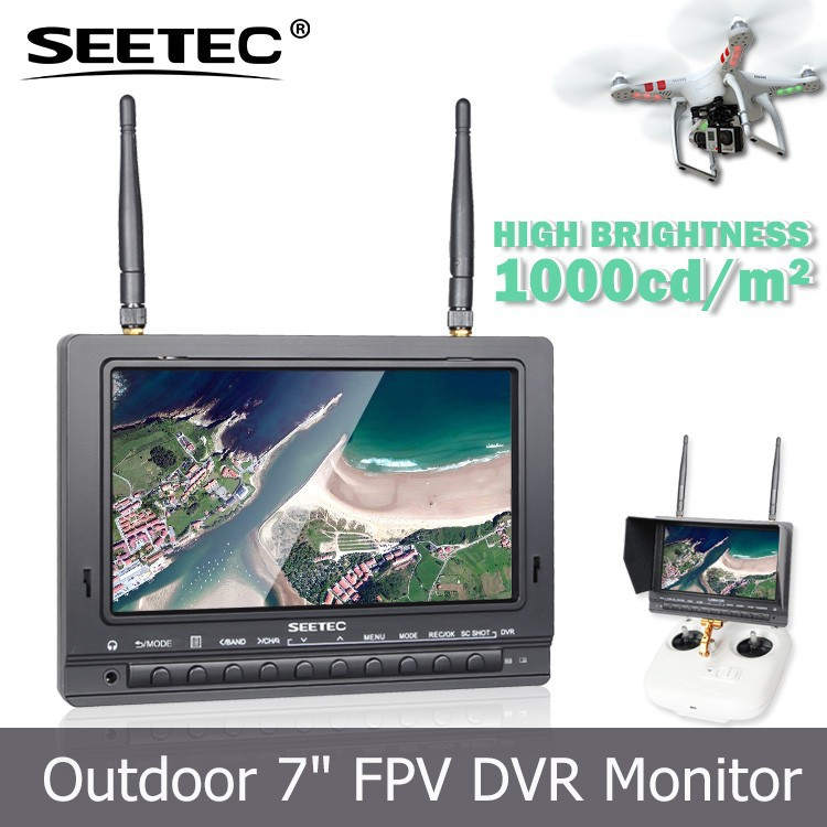 "7"" FPV monitor 1000cd/m2 video record function 32G TF card 5.8GHz receiver 2200mah li battery plastic helicopter toy small"