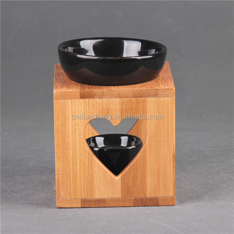 Wholesale Ceramic Fragrance oil Burner oil warmer on bamboo stand