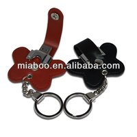 Super thin 8gia/16gia Clip leather bulk 1gb usb flash drive for free embossing logo,100% Full Capacity,Free Sample