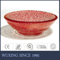 Red color white crackle glass bowls