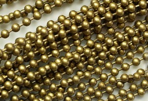 old brass color metal ball link chain