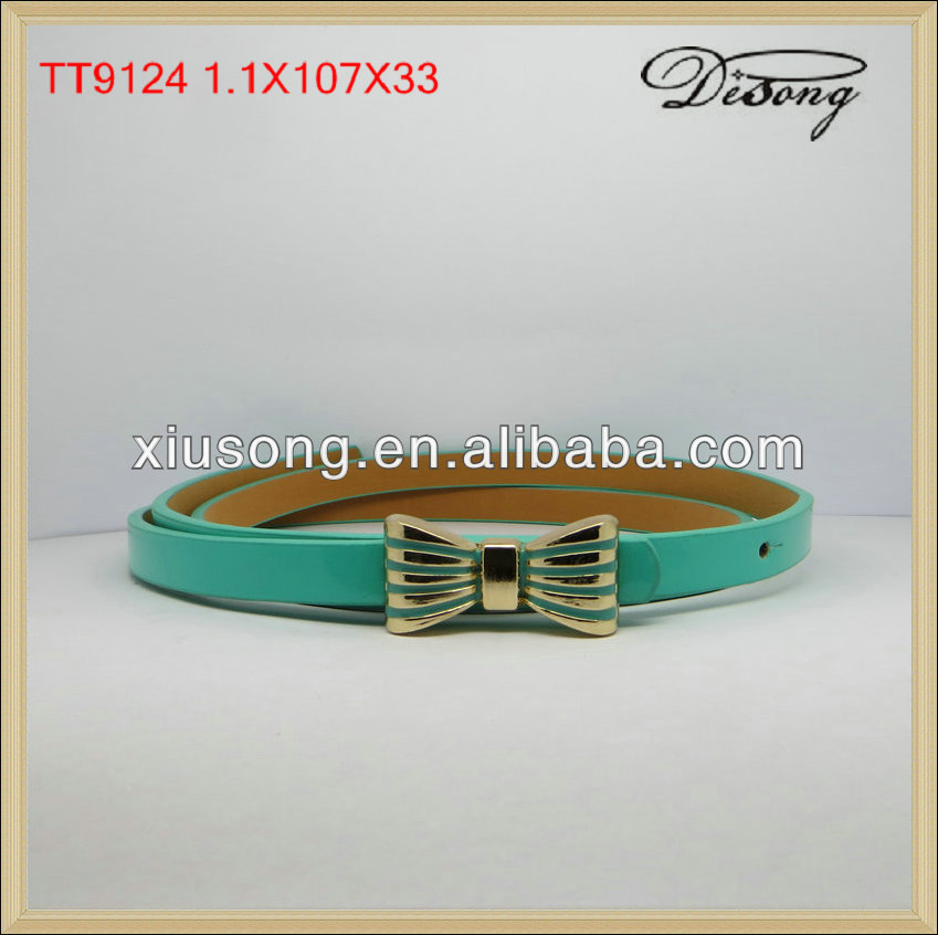 TT9124 new green with bowknot decorated ladies belt women belt