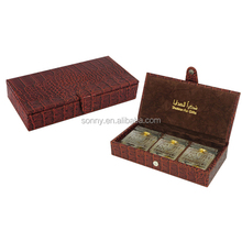 Popular Leather Perfume Bottles Packaging Box for 3 Bottles Storage