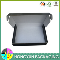 Flip top corrugated paper black standard packing box sizes
