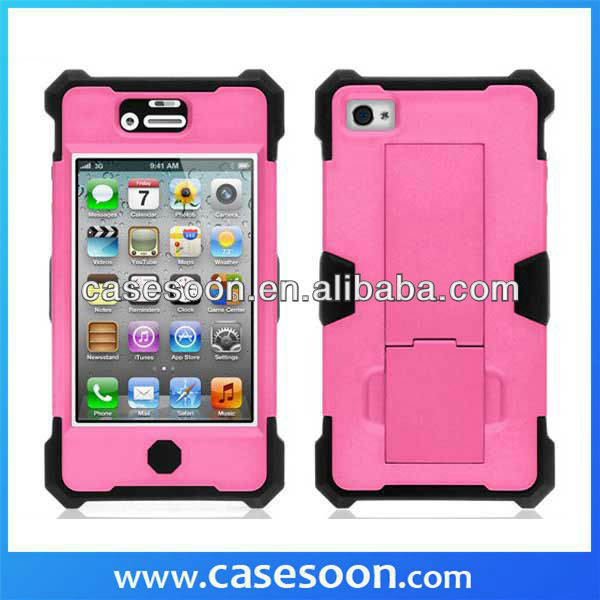 2013NEWEST ,Hybrid Rubber Phone Case For iPhone 4S 4 With Stand,For iPhone 4S Robot Case,4S Hybird Case