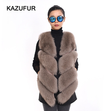 Factory Price Women Fur Style sleeveless Real Fox Fur Vest
