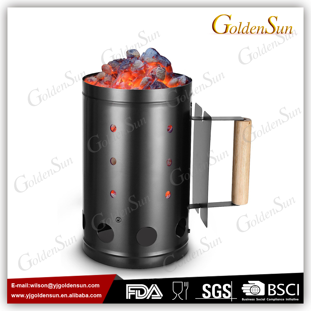 Hot Sale Black Plated BBQ Charcoal Chimney Starter With Wooden Handle