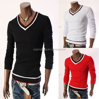 Hot Designed Slim Fit V-NECK cotton shirt fabric/cotton t shirt