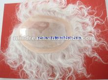Quality Chinese virgin gray hair Man's toupee with thin skin PU around