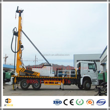 Truck mounted borehole water drilling rig machines with high efficient drilling mast