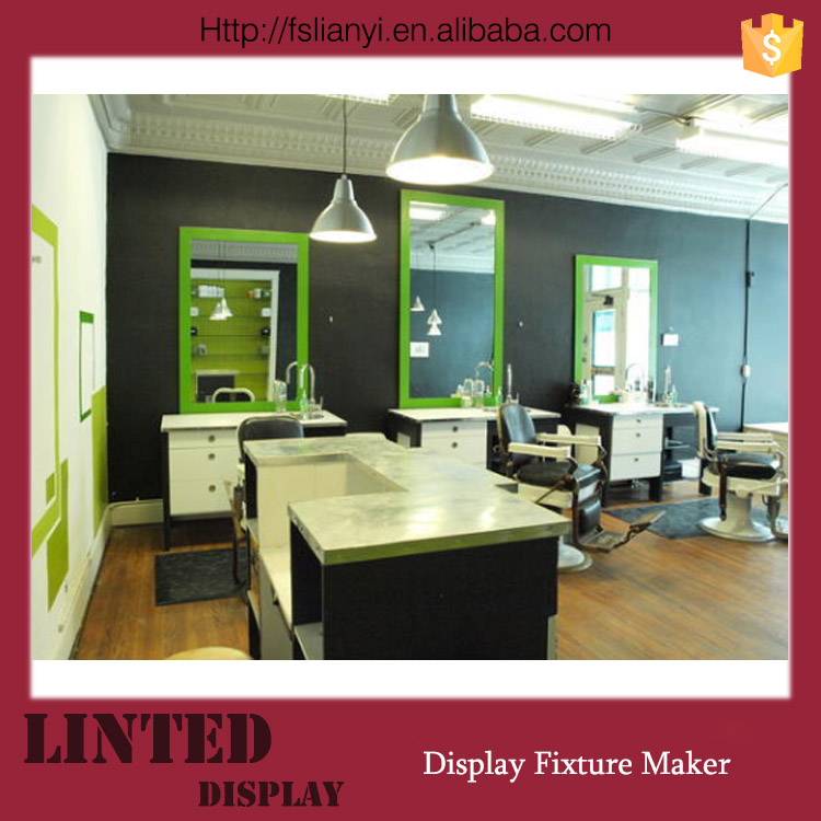 Top grade barber counter for shop luxurious barber shop furniture mirror