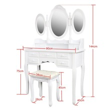 MDF 7 Drawer Dressing Table Antique Vanity Dresser With Mirror