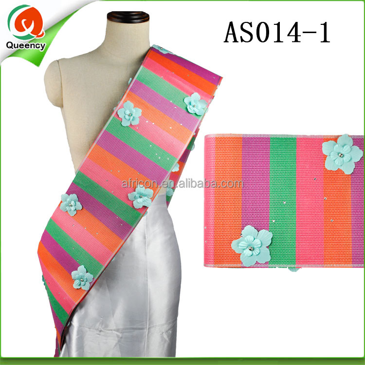 AS014 Queency Stripe Colorful 3D Flowers Headtie Aso Oke Gele with Beads and Stones