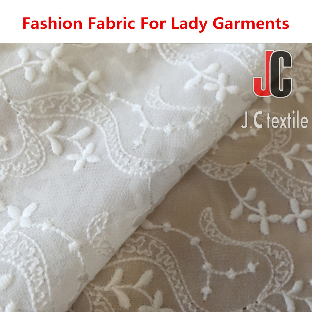 JC3655 wholesale woven polyester ity chiffon embroidery fabric with handwork