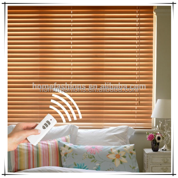 Somfy Motorized Wood Venetian Roller Blind Window Curtain