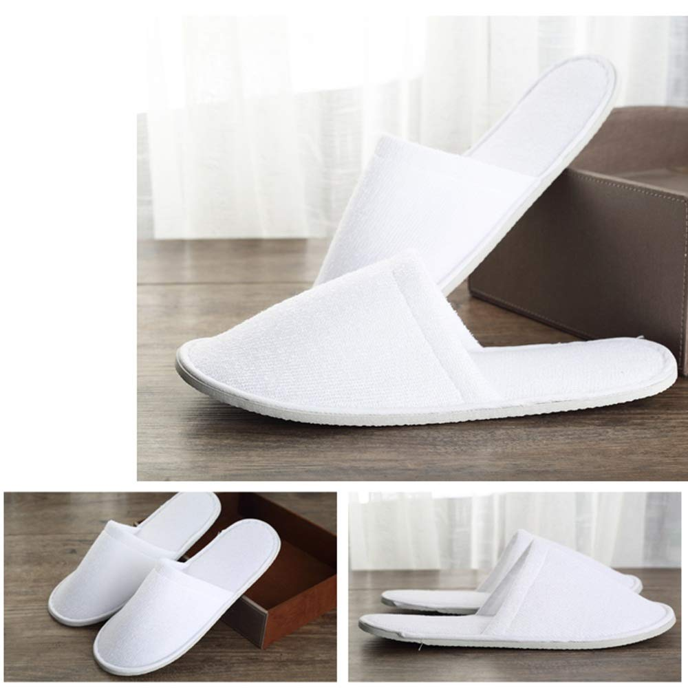 Disposable Slippers Terry Cloth Slippers White Closed Toe Shoes Non-Slip for Spa Hotel Guest