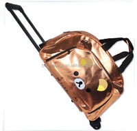 Most Popular Easy Carry Cute Bear Shiny Color Tote Travel Trolley Luggage Bag with Wheels