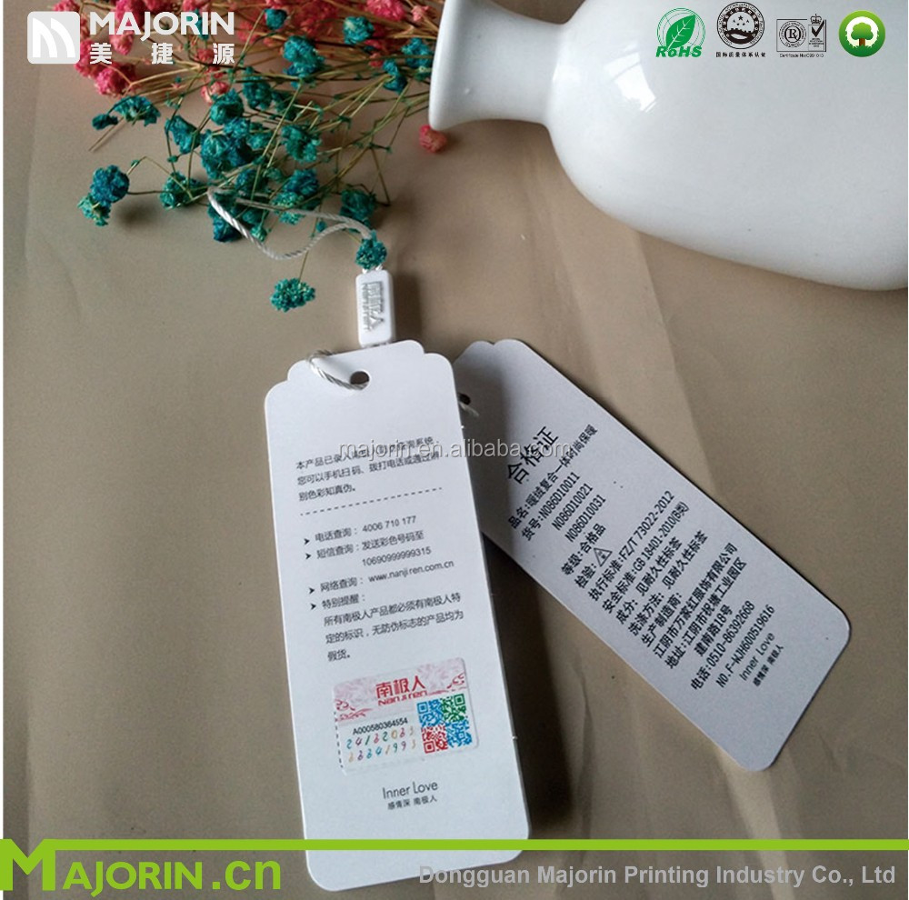 Cheaper wholesale custom printed various logo clothing paper hang tags