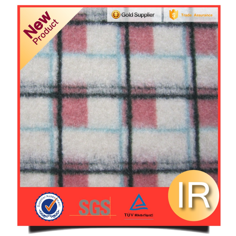 48%Wool 52%Polyester colorful plaid style jacquard wool fabric
