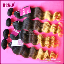 Hot Beauty 100% Remy Virgin ombre Brazilian Hair Extension,6a human hair for sale