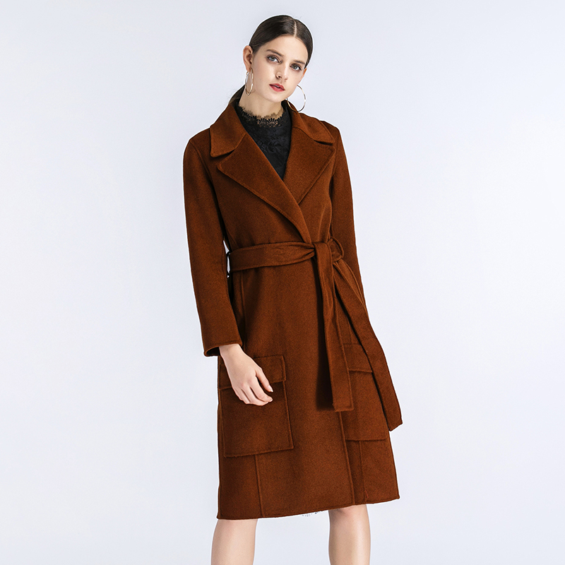 Hot Sales High Quality Elegant Long Overcoat for Women Cashmere Grey Woolen Coat With Belt