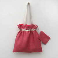 Drawstring Shopping Jute Bag with Strap Handle and Attached Coin Purse