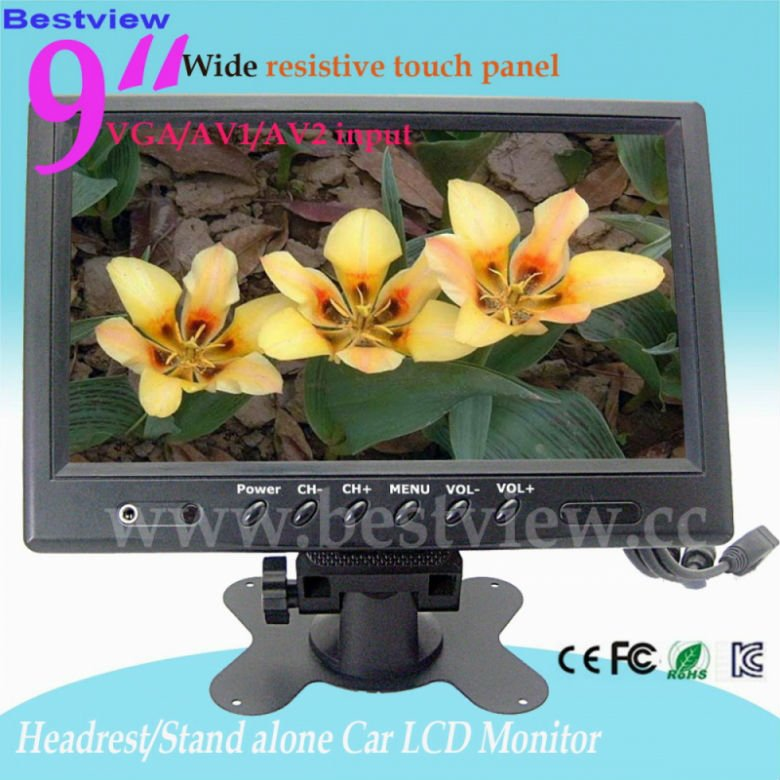 "9"" headrest/stand car monitor with 16:9 wide touch panel"