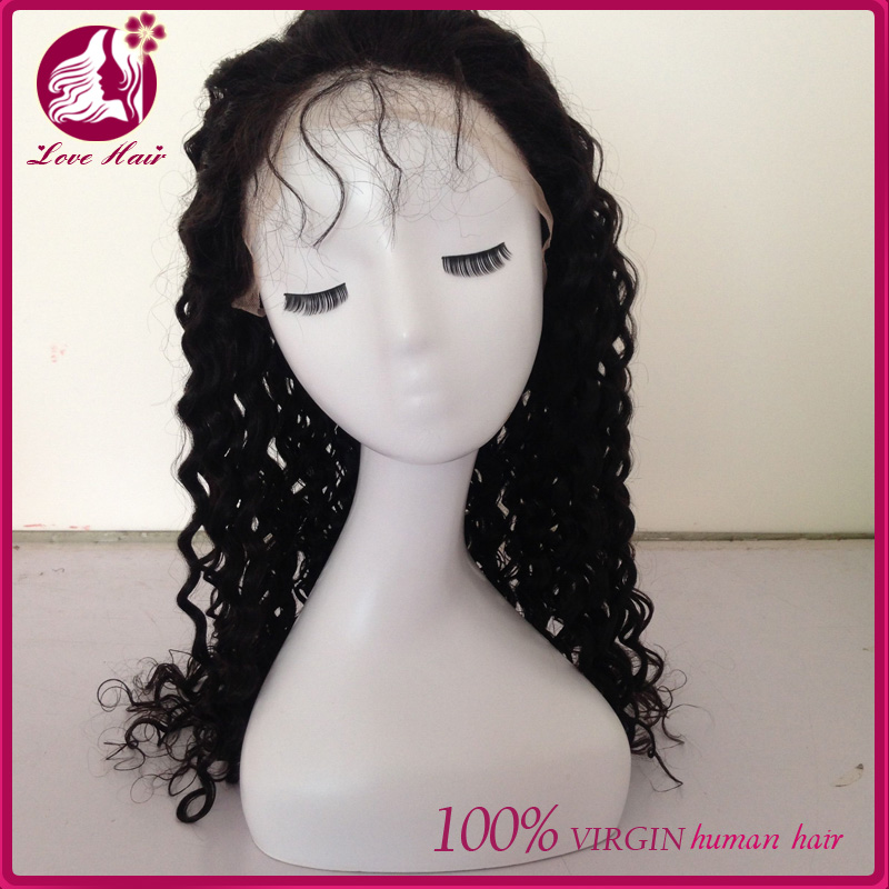 Alibaba express wholesale lace wig china best selling virgin malaysian deep wave human hair front lace wig for black women