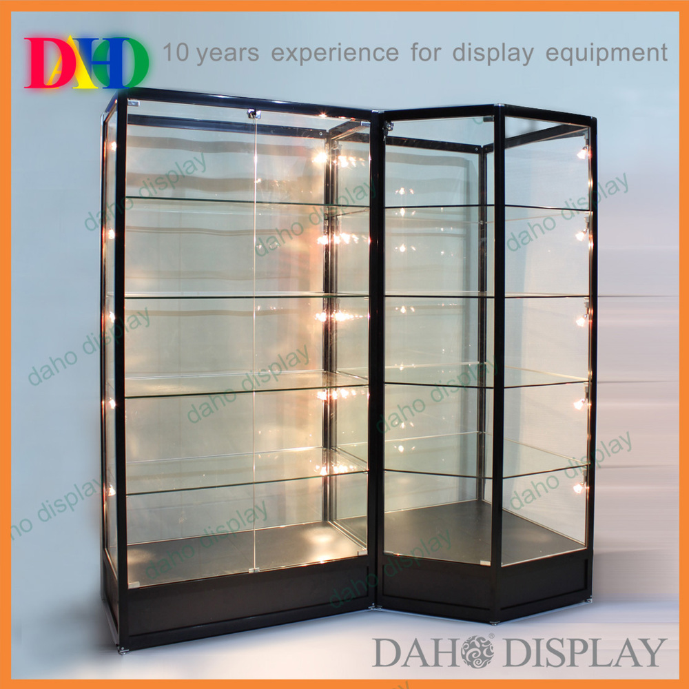 glass showcase with LED lights