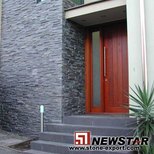 black culture slate wall tiles, veneer slate for exterior wall,slate wall panels