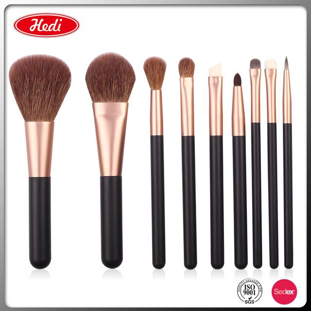 HD 9 pcs new style makeup brush set with goat hair professional makeup brush set