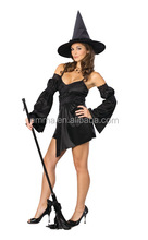 Womens Sexy Black Cauldron Witch Dress Costume Outfit Uniform Lingerie Hen Party BWG3049