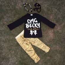 "Super cute ""OMG Becky"" print long sleeves gold sequins pants kids clothing girls clothes suit with matching accessories"