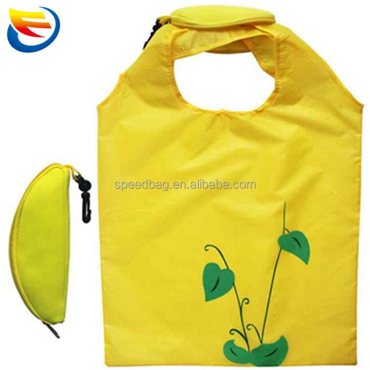 Custom recycle banana shape foldable shopping bag 190T polyester folding tote bag