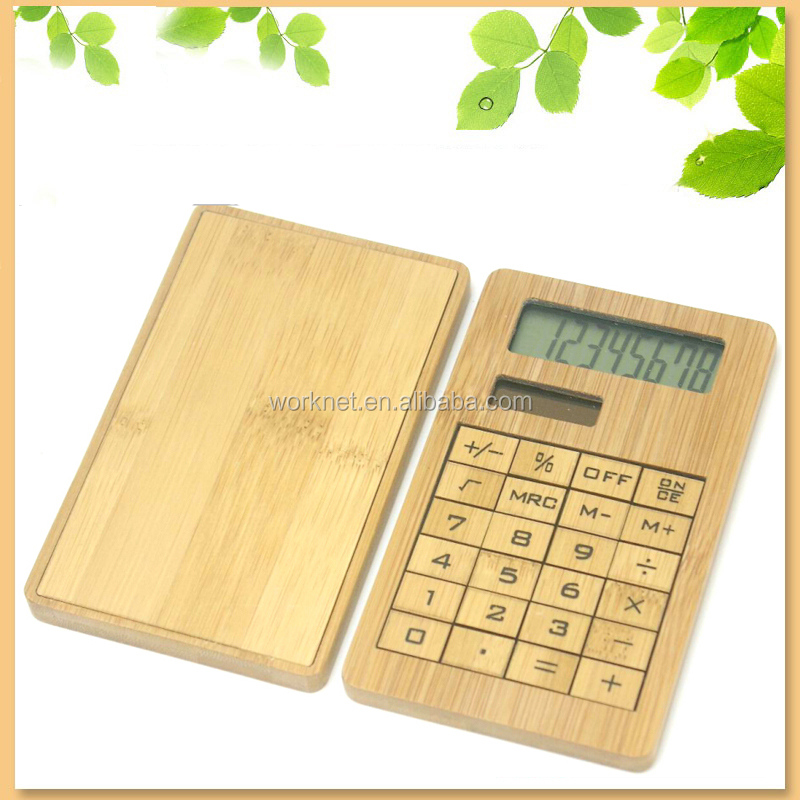 cheap customized logo promotional gift,promotional product, promotional gift item solar portable bamboo calculator wholesale