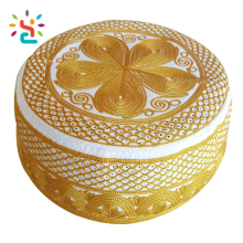GOLD Beautiful flower embroidery Islamic Kufi Muslim Caps And Hats For Men Fashionable omani kufi hat women hat