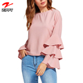 Women's Round Neck Ruffle Long Sleeve Blouse Stylish Blouse Models