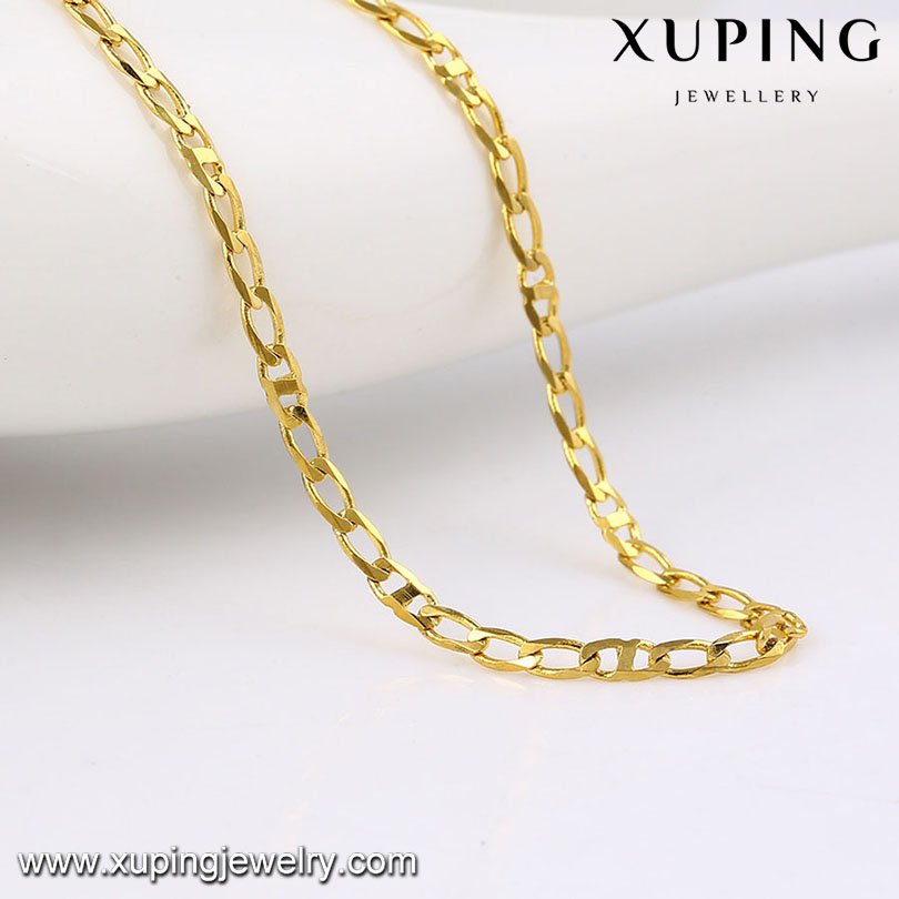 42951 xuping costume jewelry necklace, 14k gold color latest model thin gold chain designs necklace