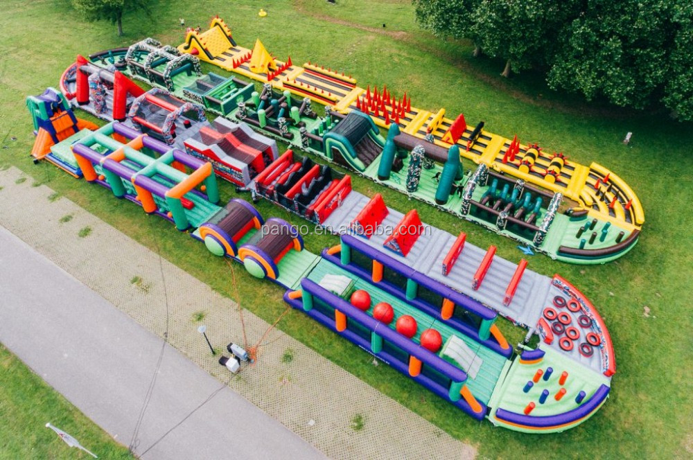 World biggest inflatable 272m crazy running obstacle course