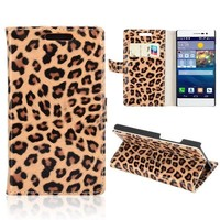 Factory price Leopard Pattern leather case for Huawei ascend p7 case